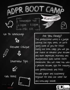 ADPR bootcamp flyer